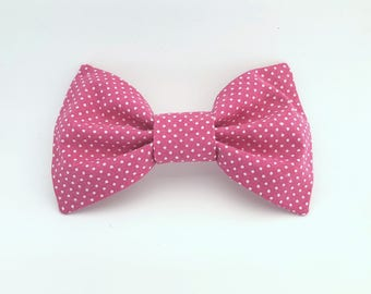 Bright Pink and White Polka Dot Bow Tie Hair Clip