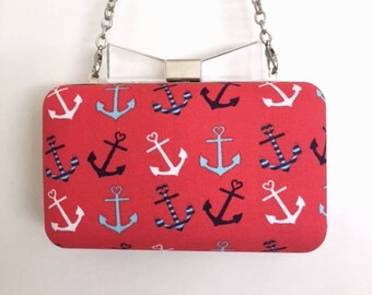 Red, White & Blue Anchors Bow Top Minaudière Clutch
