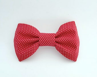 Red and White Polka Dot Bow Tie Hair Clip
