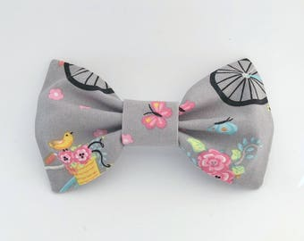 Gray with Bicycles and Flowers Bow Tie Hair Clip