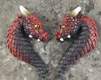 Custom Made Pair of Dragon Portrait Heart Friendship Necklaces - 2 Fire Elemental Dragons - IN STOCK and Ready to Ship