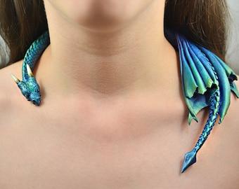 Dragon Draper Necklace - Aurora Borealis Dragon - Pre-Order
