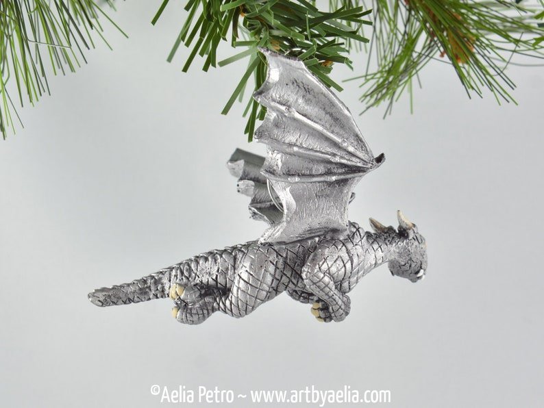 Flying Dragon Ornament Antique Silver Dragon with Optional Ornament Upgrade PRE-ORDER