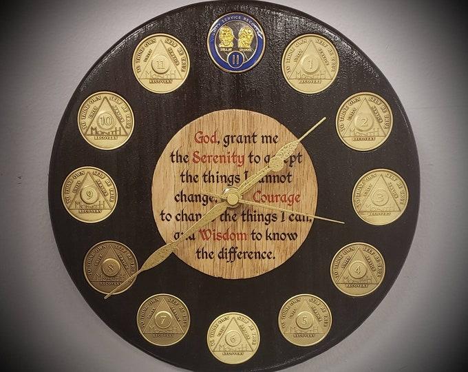 Serenity Prayer Sobriety Clock (Anniversary Chip Holder)