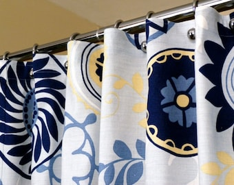 """Blue Shower Curtain with Circles Whimsical Pattern sized 72"""" x 72"""" (curtain hooks sold separately)"""
