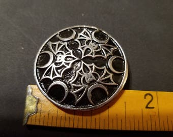 Pewter Medium Brooch With Bats And Moons