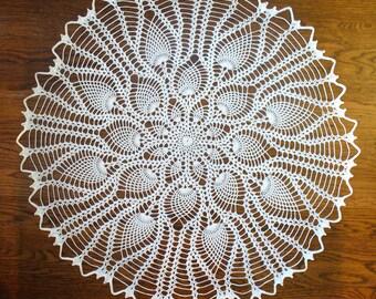 Handmade White Round Crochet Doily: Florida Swamp Lily