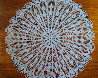 Handmade Light Blue Round Crochet Doily: Camassia