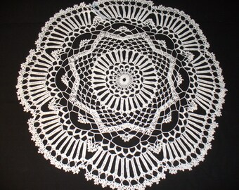 Handmade White Round Crochet Doily: Matilija Poppy