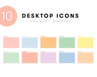 10 Pastel Desktop Icons | Folder Icon set for Mac + Windows computer | cute organize aesthetic pink green purple yellow blue png ico macbook