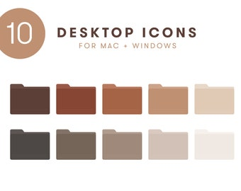 Desktop Icon Set | 10 Neutral Folder Icons for Mac + Windows computers | cute organized aesthetic brown tan nude terracotta png ico macbook
