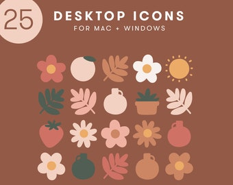 25 Desktop Icons | Neutral Illustrated Icons for Mac + Windows | cute flowers plants nude cottagecore macbook organized aesthetic retro