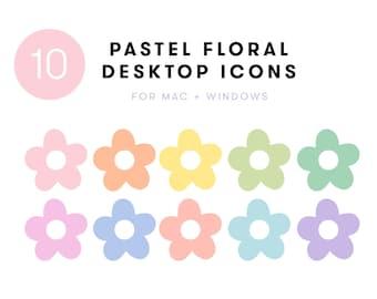 10 Pastel Floral Desktop Icon Set | Folder Icons for Mac + Windows | aesthetic blush daisies cute desktop laptop organize computer flowers