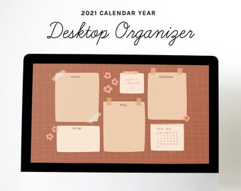 Desktop Wallpaper Organizer | Brown Floral Grid | small business owners, entrepreneurs, bloggers, students, mac, windows, computer organize
