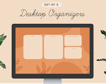 3 Desktop Wallpaper Organizers | Rust Orange Plants theme | small business owners students mac windows computer background boho nude natural