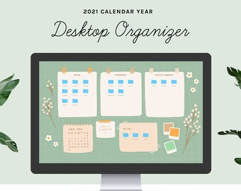 Desktop Wallpaper Organizer | 2021 calendar | Green Floral Grid | small business owners, entrepreneurs, students, mac, windows, computer