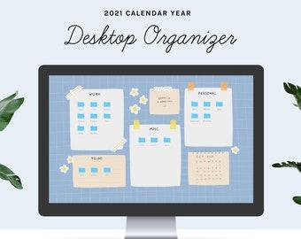 Desktop Wallpaper Organizer | 2021 calendar | Blue Floral Grid | small business owners, entrepreneurs, students, mac, windows, computer