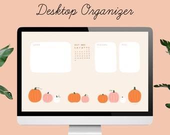 Desktop Wallpaper Organizer | 2021 Calendar | Pink and Orange Pumpkins | for small business owners, entrepreneurs, bloggers, students