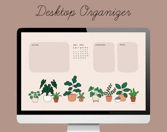 Desktop Wallpaper Organizer | 2021 Calendar | Houseplants cream nude | small business owners, entrepreneurs, bloggers, students, influencers