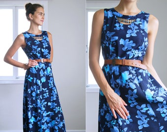 Navy Blue 90's Floral Print Midi Dress with Beaded Tassel Cutout Neckline VINTAGE Size 14