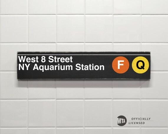 West 8 Street Ny Aquarium Station New York City Subway Sign Etsy
