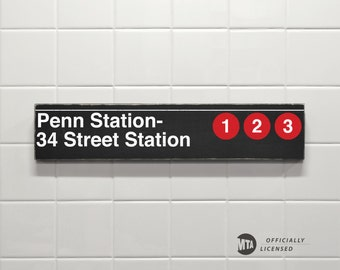 Penn Station- 34 Street Station - New York City Subway Sign - Wood Sign