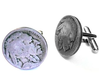 Indian Chief Head GT53 Pair of Cufflinks Made From Fine English Modern Pewter