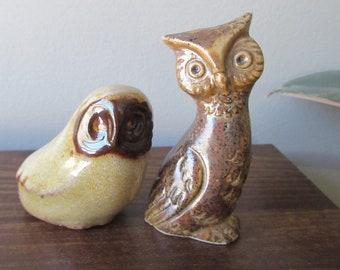 Small Unique Pottery Owl Vintage Scandinavian Danish Modern Pottery Mid Century Signed crane