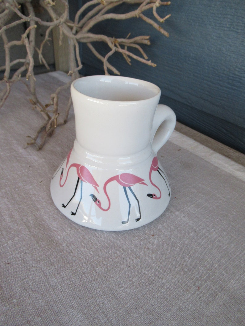 0b82c9e66f9 Vintage Wide Bottom No Spill Ceramic Coffee Mug Pink Flamingo | Etsy