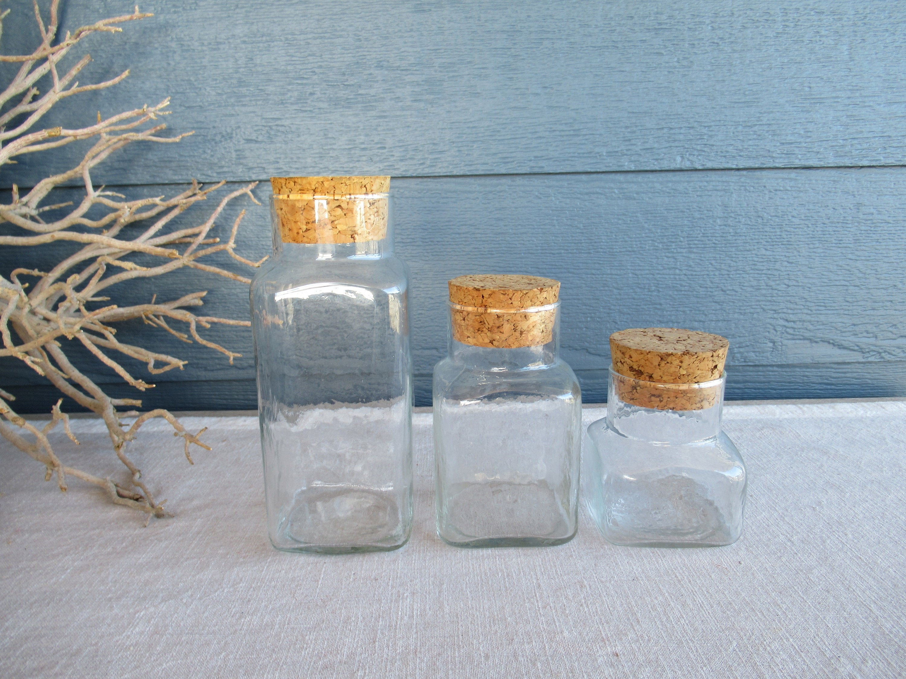 Set Of 3 Vintage Glass Storage Jars With Cork Lids Square Etsy