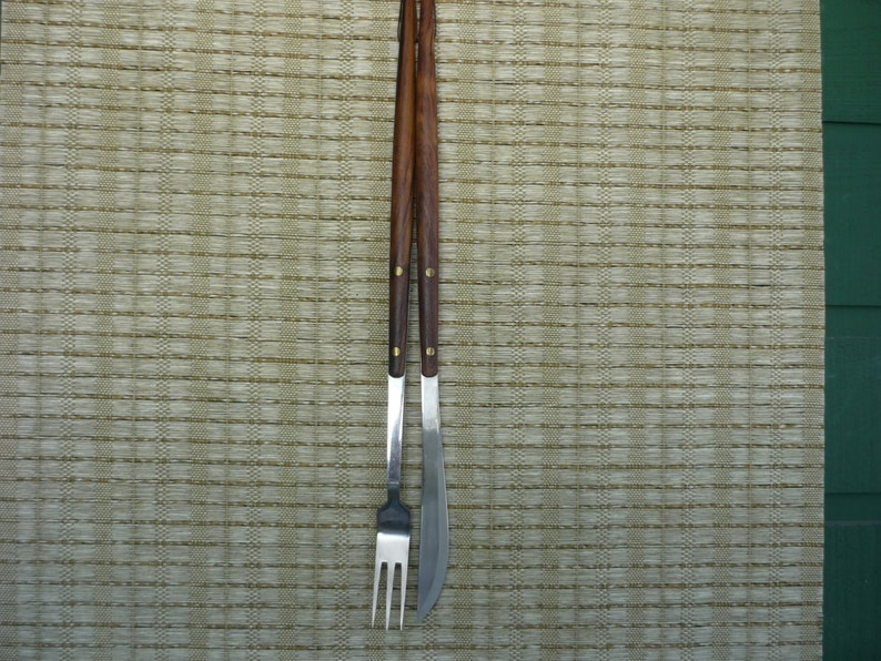 Retro BBQ Accessory Set of Vintage  Wood and Stainless Carving Set Mid Century Modern