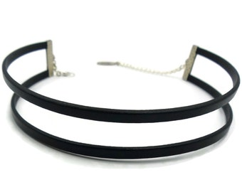 Double Leather Choker Necklace in Black, Two Strands Leather Collar, High Fashion Black Choker, Sexy Bondage Choker - Custom Size