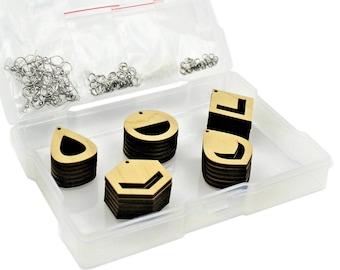 Earrings Macrame Wood Blanks Jewelry Making Kit - 15 DIY Pairs of Laser Cut Wooden Earrings for String, Resin Art, All Findings Included