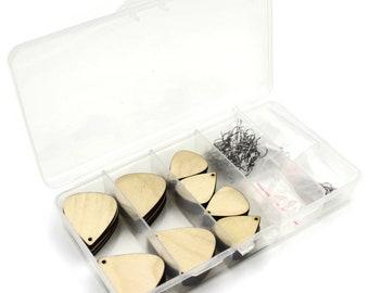 Teardrop Wood Earrings Blanks Jewelry Making Kit, TWO sizes - 16 DIY Pairs of Laser Cut Earrings, Stainless Steel Findings Included