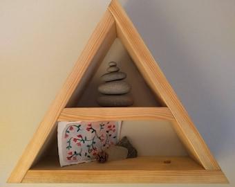 Wooden triangle shelf
