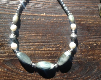 """Grey- green """" dolphin""""  agate necklace with pearls and crystal..."""