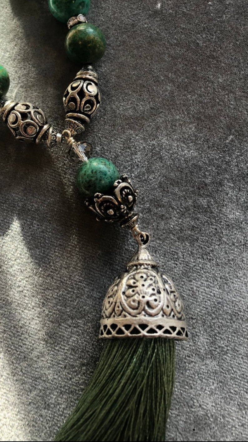 Long green silk tassel necklace image 0