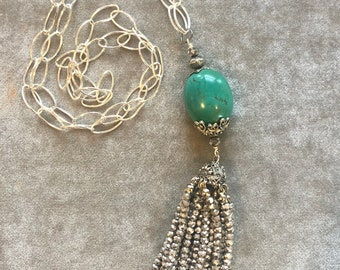Turquoise and silver crystals tassel necklace