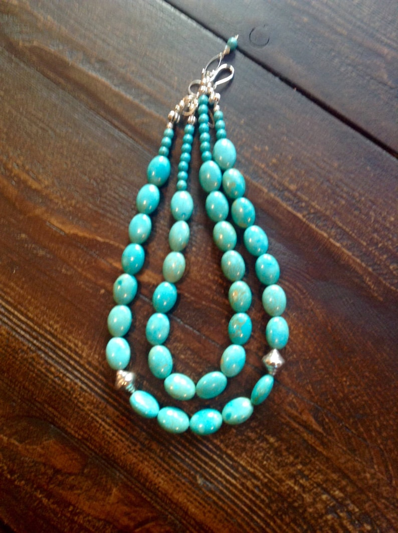 Magnesite turquoise with Hill Tribes silver beads double image 0