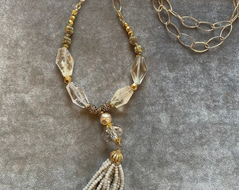 Golden crystal tassel necklace with natural citrines