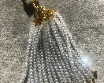 Beautiful crystal tassel necklace with moonstone pendant