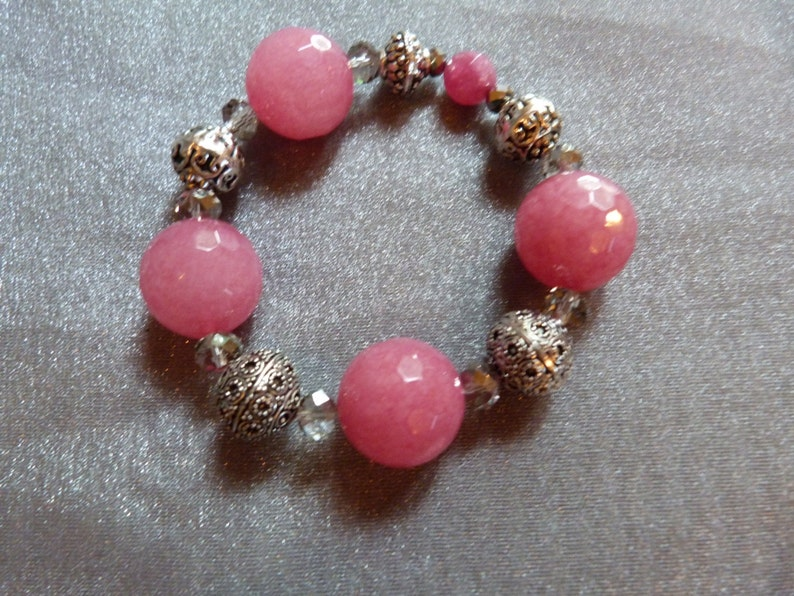 Bright pink agate silver and crystal stretch bracelet image 0