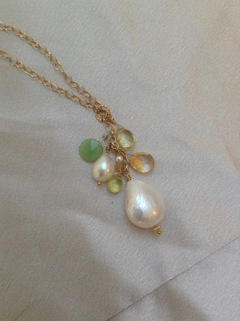 Large lustrous teardrop pearl with champagne Quartz  pearl image 0