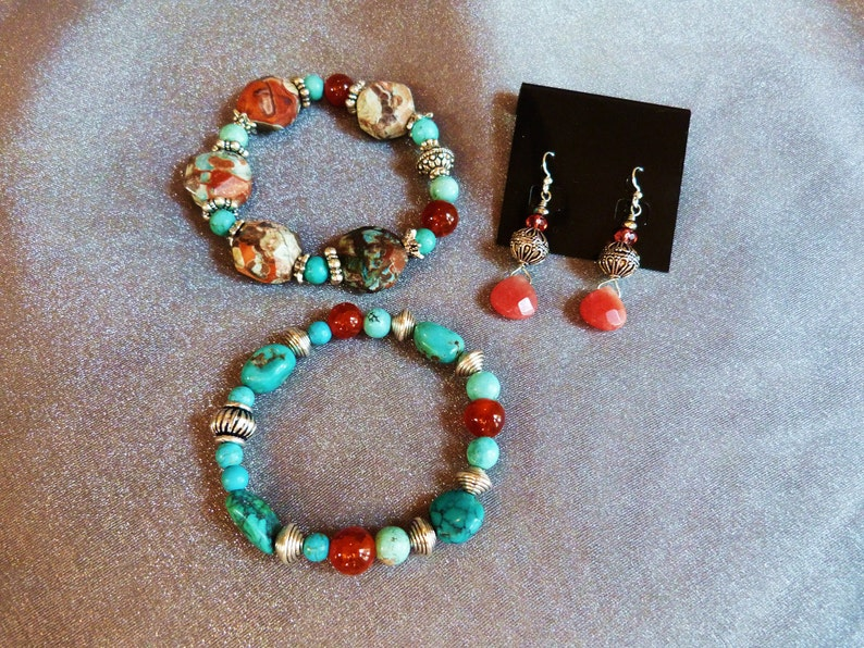 A gorgeous set of red agate bracelets with turquoise jasper image 0