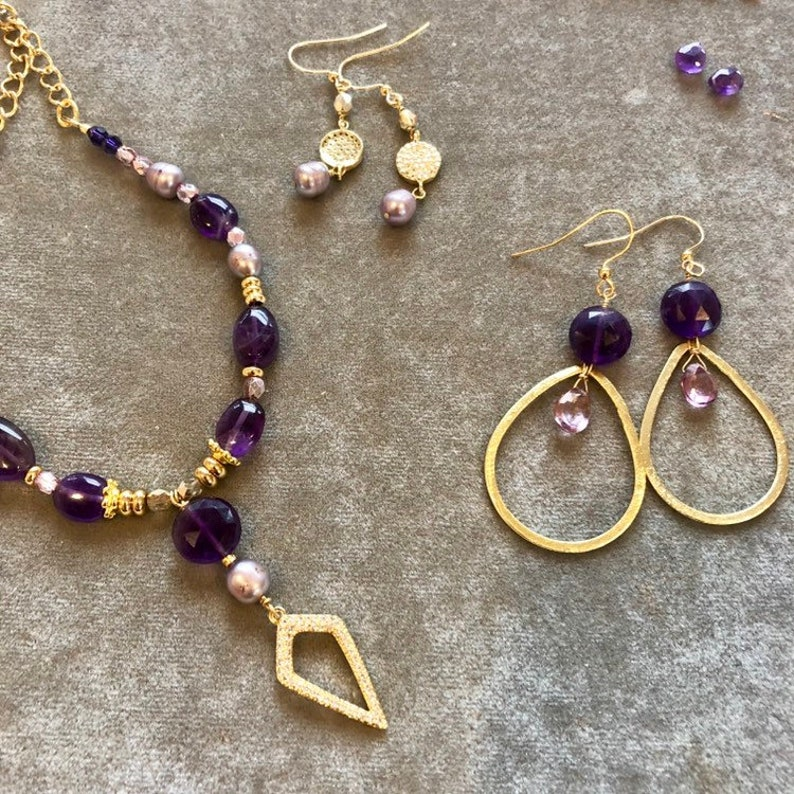 Large Gold hoop earrings with amethyst and pink topaz drops image 0