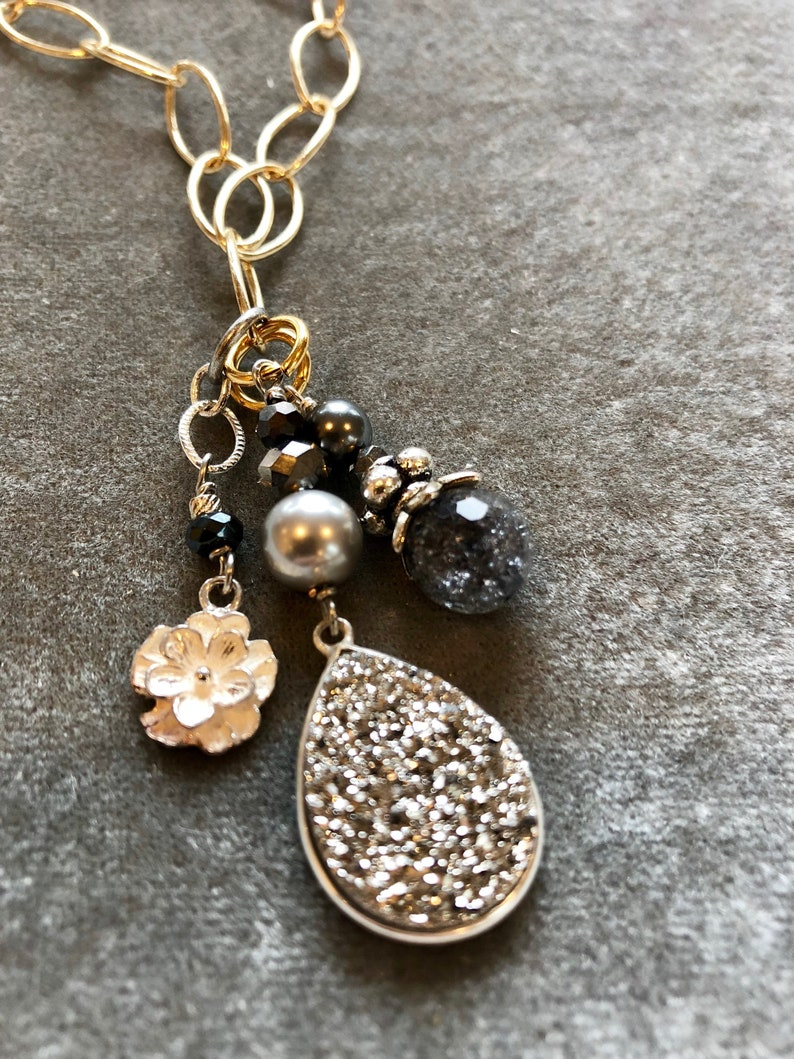 Sparkling silver druzy pendant on gold chain with sterling image 0
