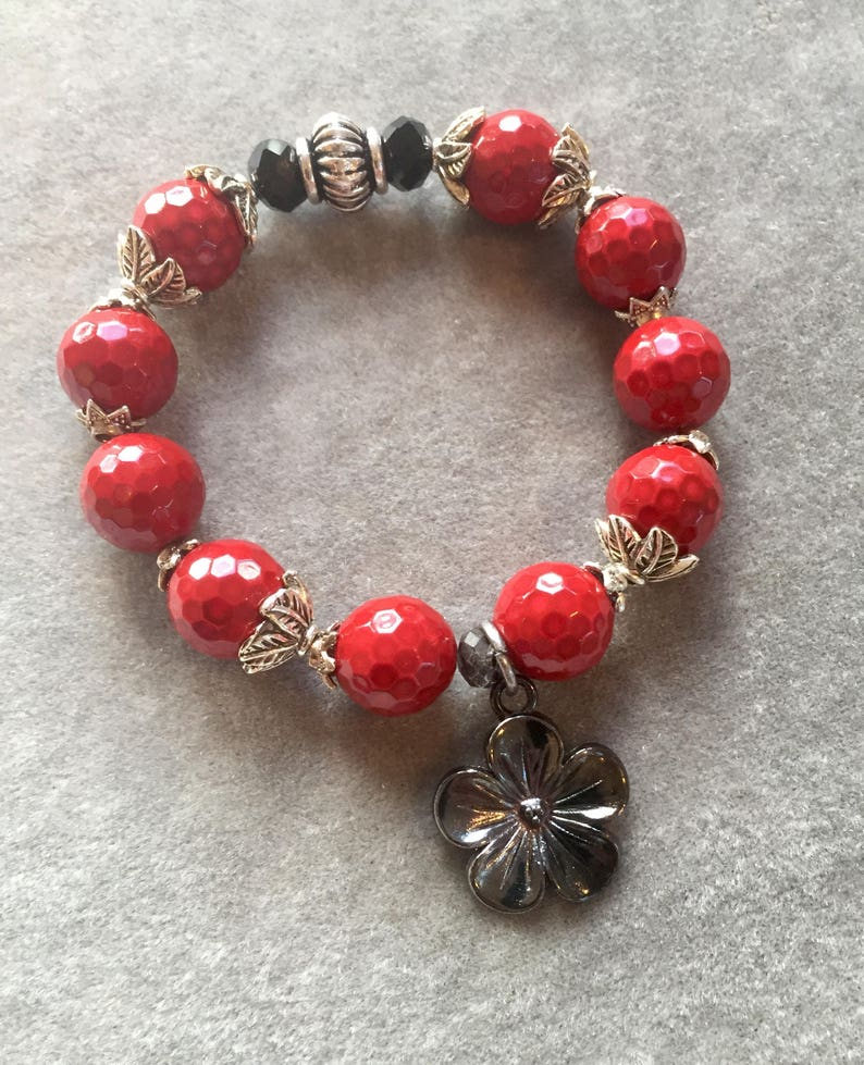 Cherry red agate  bracelet with dark silver flower image 0