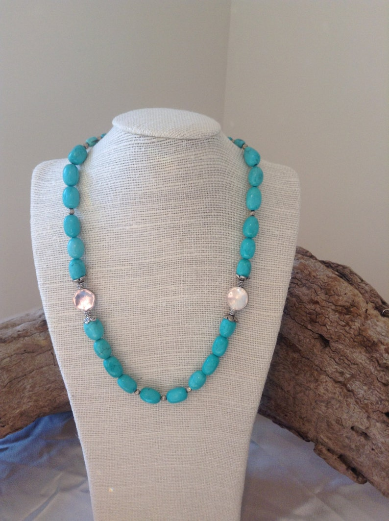 Magnesite turquoise with silver beads set image 0