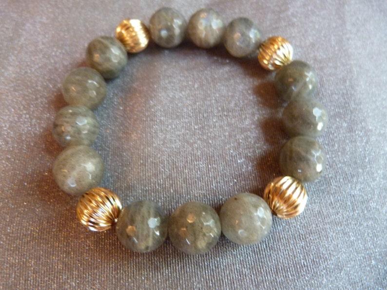 Gold filled beads 14kt  labradorite bracelet image 0