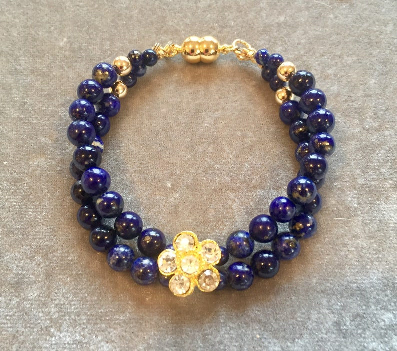 Lapis crystal flower and gold double strand bracelet image 0